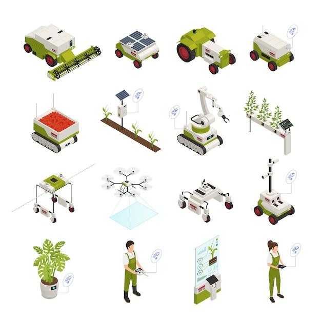Изометрические коллекции элементов автоматизации сельского хозяйства Бесплатные векторы