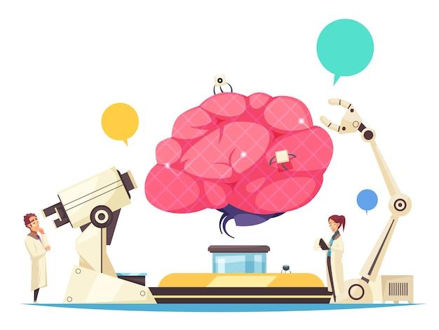 人間の脳に埋め込まれたマイクロチップと外科手術用のロボットアームを備えたナノテクノロジーの概念 無料ベクター