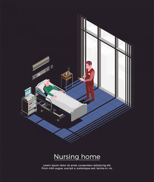 ベッドで横になっている個人訪問の高齢患者と特別養護老人ホームのアイソメ図 無料ベクター