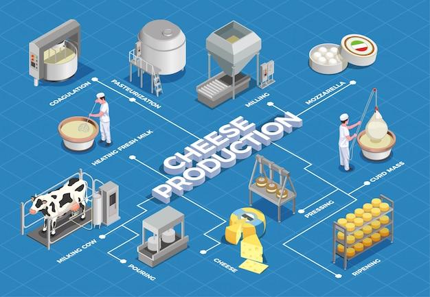 チーズ生産等尺性フローチャートは、乳量と低温殺菌から発酵圧搾と熟成までのプロセスを示しています 無料ベクター