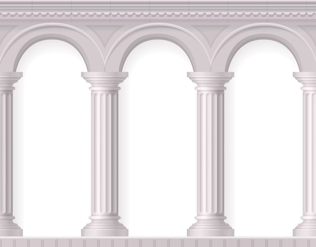 白い古代アーチを持つギリシャと現実的なアンティークの白い柱の構成 無料ベクター