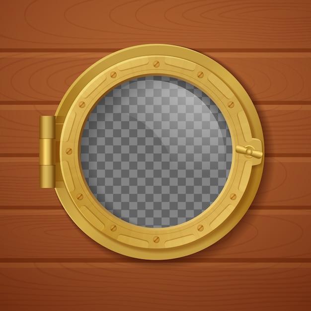 Цветной иллюминатор реалистичной композиции золотой с прозрачным фоном и с деревянной стеной Бесплатные векторы
