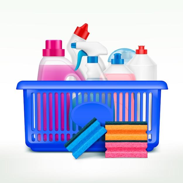 Моющие средства в корзинке с реалистичными изображениями пластиковых бутылок с моющими средствами в корзине Бесплатные векторы