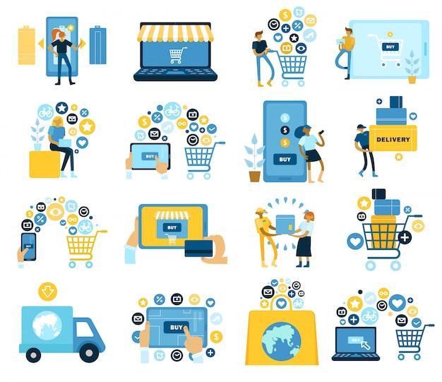 По всему миру покупаем онлайн-коллекцию плоских иконок с электронным магазином, оплачиваемую доставку на дом Бесплатные векторы