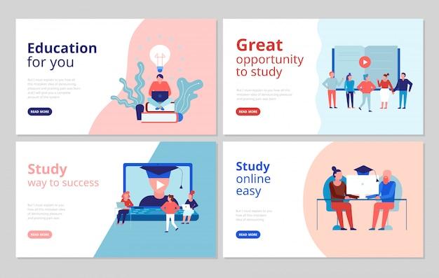 Веб-страница баннеров с концепцией плоского образования онлайн с сертифицированными учебными курсами университетского колледжа Бесплатные векторы