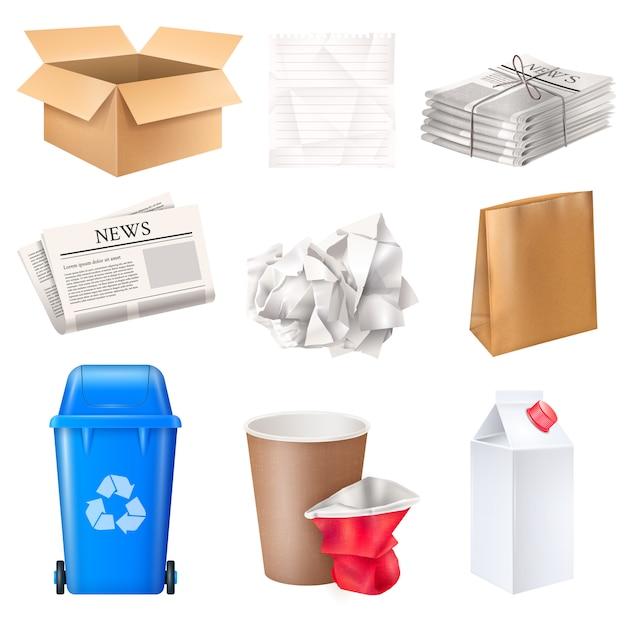 ゴミ箱と廃棄物が段ボールと紙の現実的な分離設定 無料ベクター