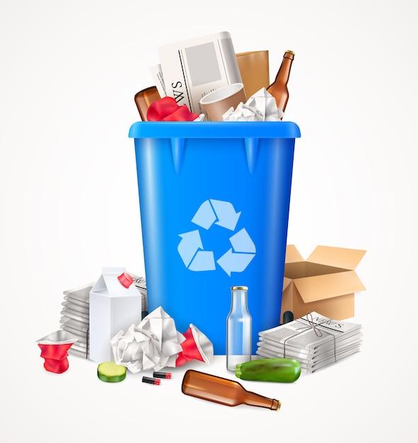 食品用ガラスと紙の現実的なゴミと廃棄物の概念 無料ベクター