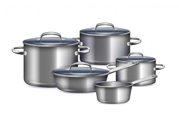 Набор кастрюль для приготовления завтрака, обеда и ужина реалистично Бесплатные векторы