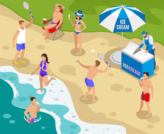 Уличная еда изометрическая композиция с торговлей мороженым на пляже Бесплатные векторы