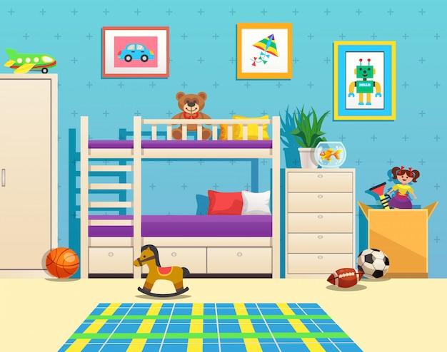 Аккуратный интерьер детской комнаты с двухъярусными картинами на стенке аквариума с рыбками и игрушками Бесплатные векторы