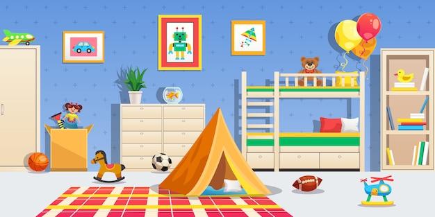 Интерьер детской комнаты с белой мебелью, спортивные мячи, палатка и разноцветные игрушки, горизонтальная квартира Бесплатные векторы