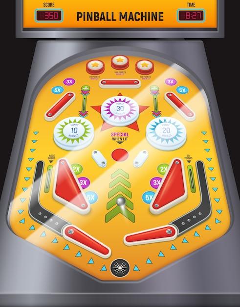 エンターテインメントセンターの着色された漫画のピンボールマシン構成ゲーム機 無料ベクター