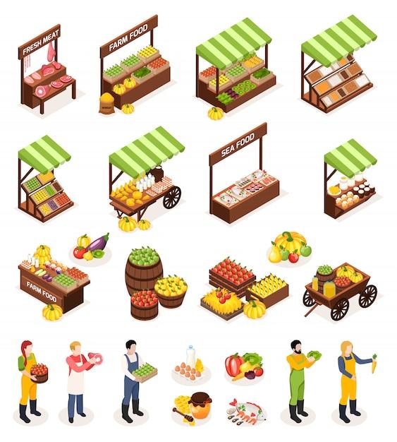 ファーマーマーケット等尺性のアイコンセットカウンターボックスキャスクの新鮮な肉果物野菜乳製品と海の産物 無料ベクター