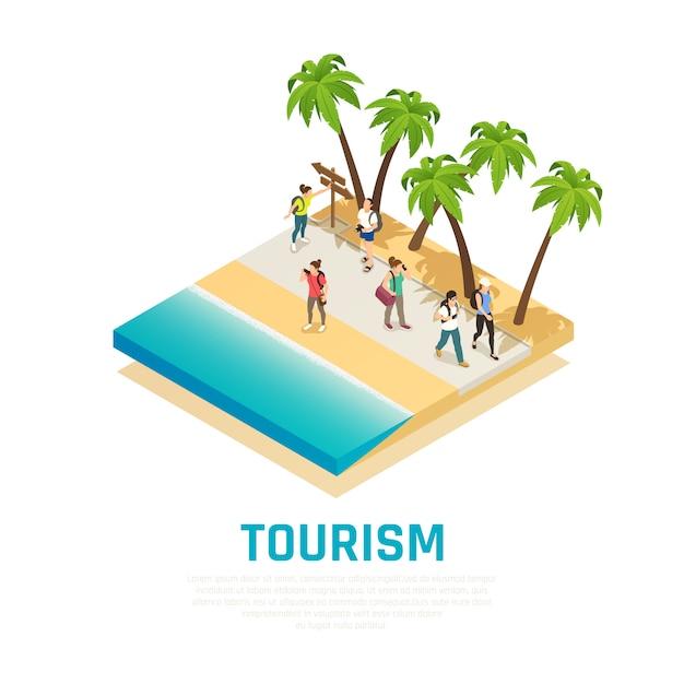 ヤシの木等尺性組成物と海岸に沿って旅行中にバックパックを持つ人々 無料ベクター