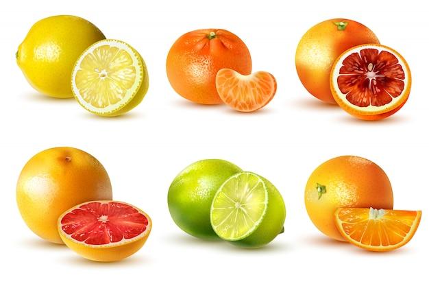 Реалистичные цитрусовые с лимоном лайм апельсин грейпфрут мандарин, изолированные на белом Бесплатные векторы