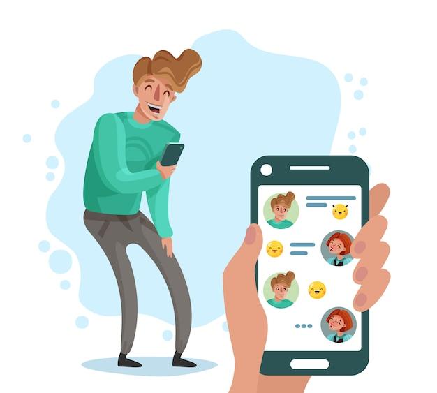 Смеющийся человек с телефоном в чате с друзьями мультфильм Бесплатные векторы