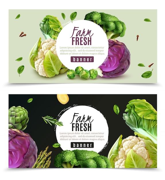 Горизонтальные баннеры с реалистичными свежими фермерскими овощами, такими как капуста цветная капуста брокколи брюссельская капуста изолированы Бесплатные векторы