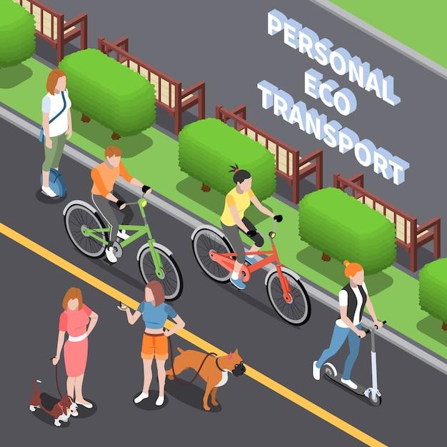 Персональный эко транспорт иллюстрация с зелеными символами транспорта изометрии Бесплатные векторы