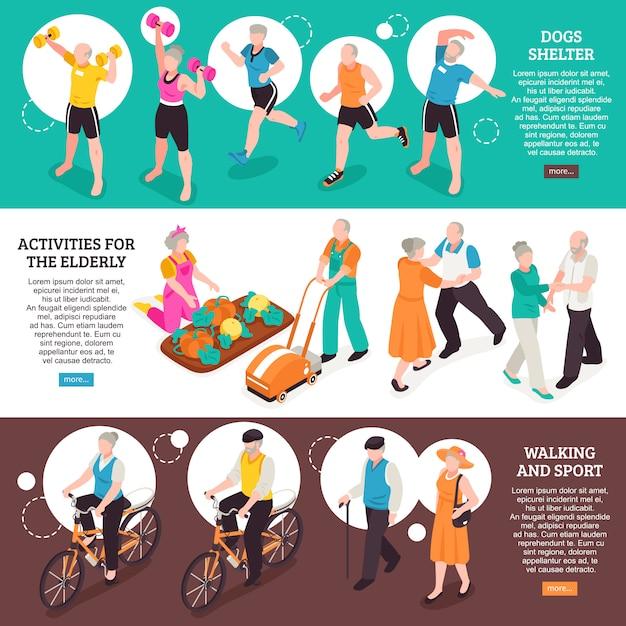 Старшие люди горизонтальные баннеры с ходьбой и спортивные символы изометрической изоляции Бесплатные векторы