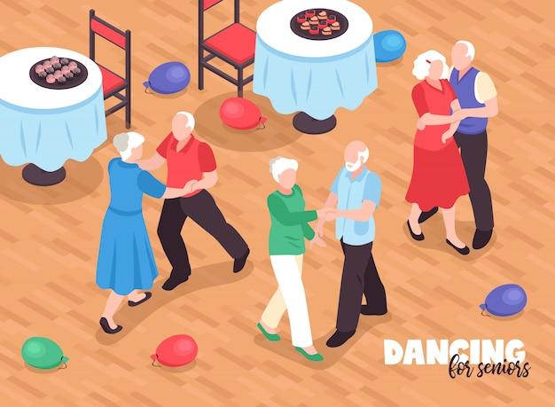 アクティブなライフスタイルシンボル等尺性のイラストを踊るアクティブな高齢者 無料ベクター