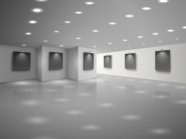 ブランクの黒いキャンバスと空の白いホールのインテリア 無料ベクター