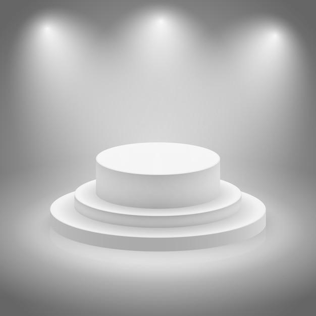 白い空の照明されたステージ 無料ベクター