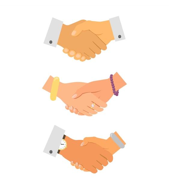 Набор значков бизнес-рукопожатия Бесплатные векторы