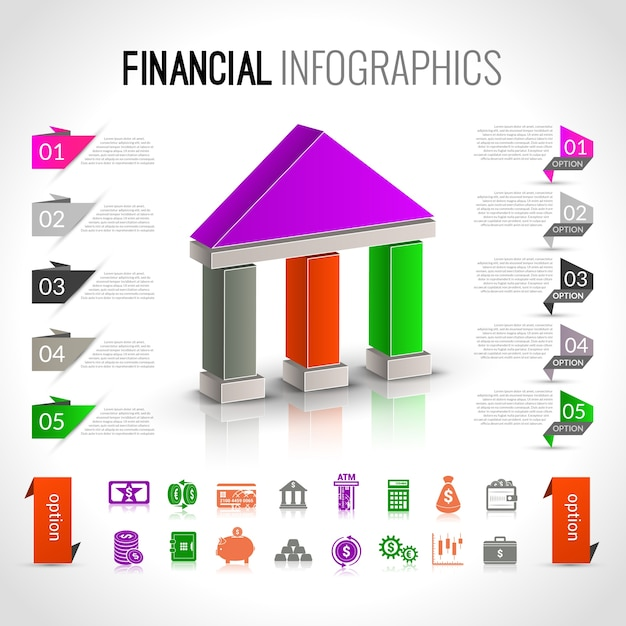 Банковская финансовая инфографика Бесплатные векторы