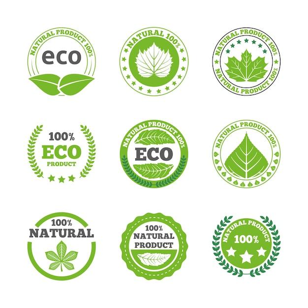 生態学的な葉のラベルのアイコンが設定 無料ベクター