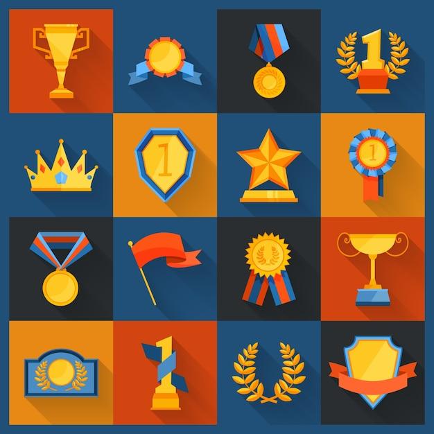 Значки награды установлены Бесплатные векторы