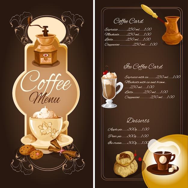 コーヒーカフェメニュー 無料ベクター