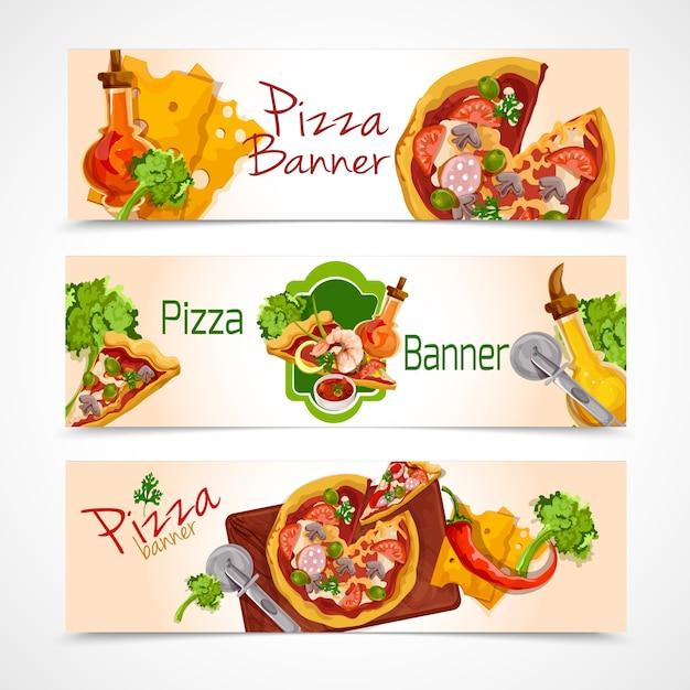 Набор баннеров пиццы Бесплатные векторы