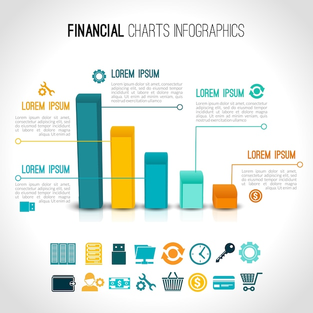 Финансовые диаграммы инфографические Бесплатные векторы
