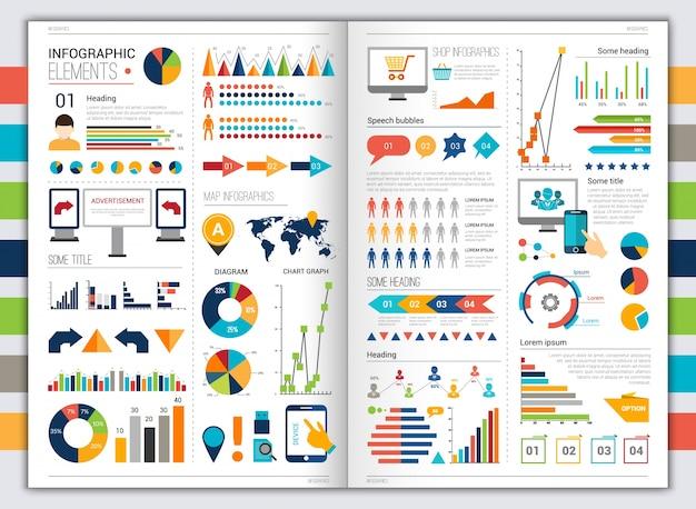 Плоский инфографический набор Бесплатные векторы