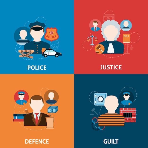 犯罪と処罰フラットアイコンの構成 無料ベクター