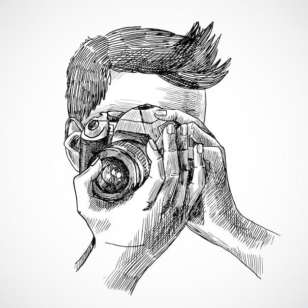 フォトグラファーのスケッチの肖像 無料ベクター