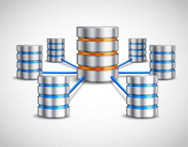 Концепция сетевой базы данных Бесплатные векторы