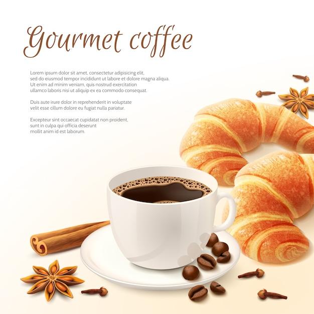 コーヒーの背景と朝食 無料ベクター
