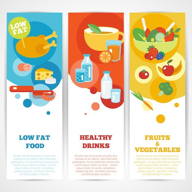 Набор вертикальных баннеров для здоровой еды Бесплатные векторы