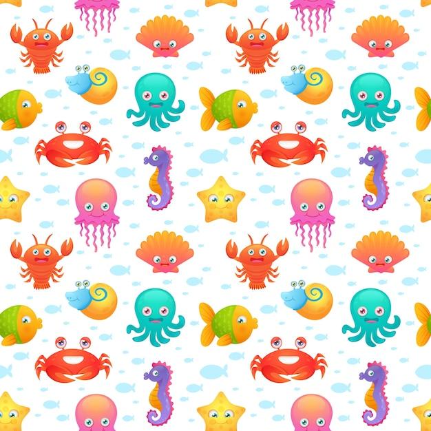 かわいい海の動物シームレスなパターン 無料ベクター