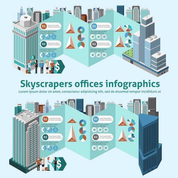 超高層ビルオフィスインフォグラフィックス 無料ベクター