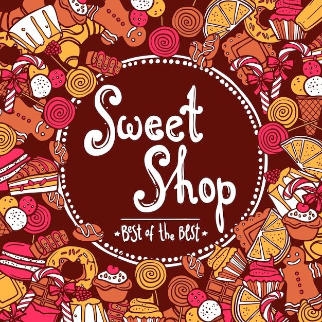 История сладкого магазина Бесплатные векторы
