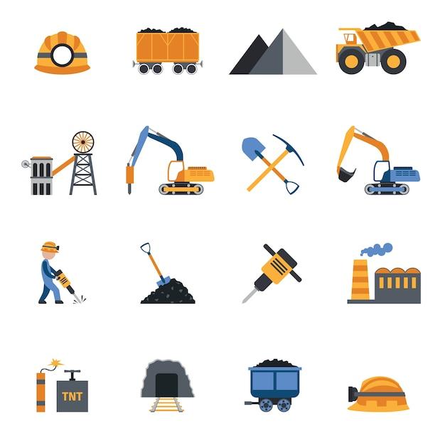 Иконки угольной промышленности Бесплатные векторы