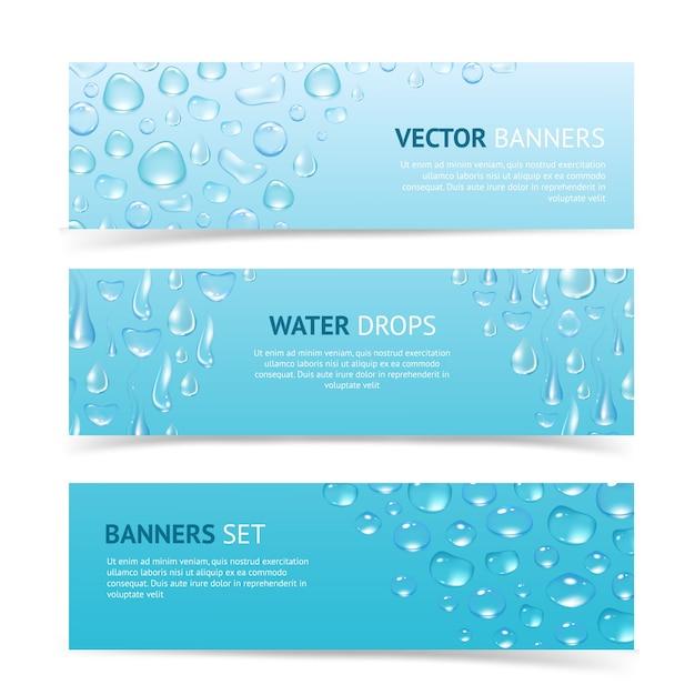 Баннеры капель воды Бесплатные векторы