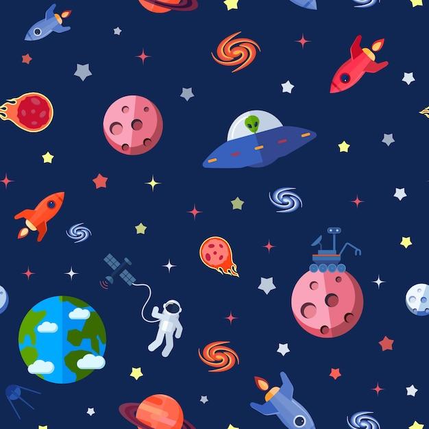 Космический бесшовный узор Бесплатные векторы
