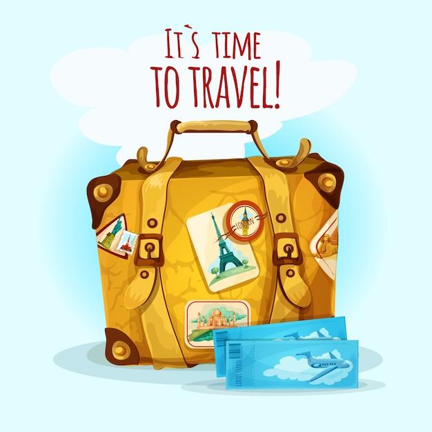 スーツケース付き旅行コンセプト 無料ベクター