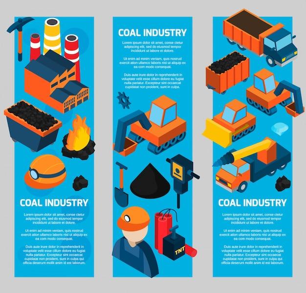 石炭産業アイソメトリックバナー 無料ベクター