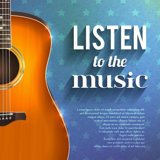 Музыкальный фон с гитарой Бесплатные векторы