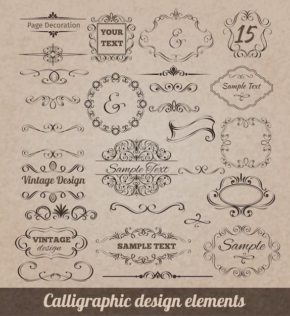 Каллиграфические элементы дизайна Бесплатные векторы
