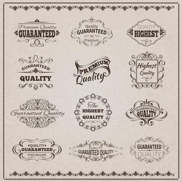 Набор эмблем качества Бесплатные векторы